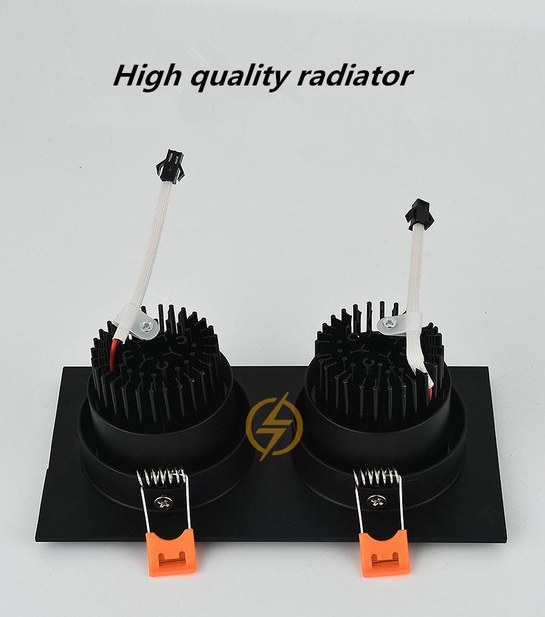 Đèn âm trần đôi vỏ đen LED downlight COB cao cấp 7wx2