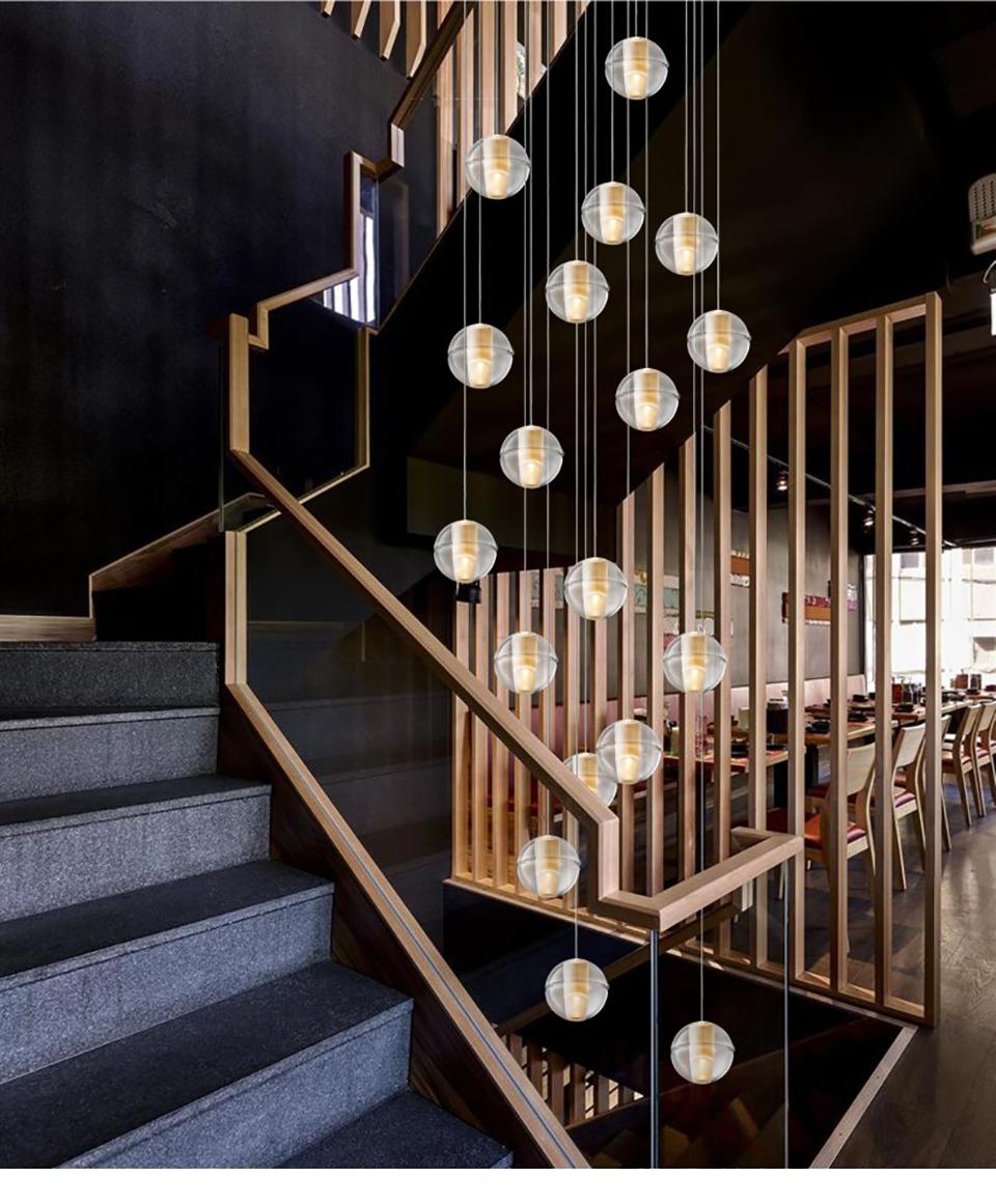 Đèn chùm thả thông tầng cầu thang hiện đại thủy tinh trắng D100  TL-TT177.1