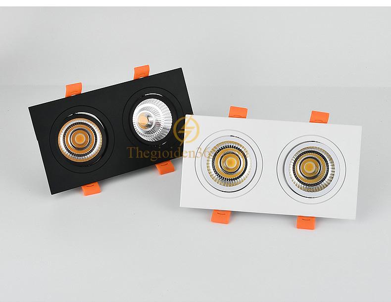 Đèn downlight đôi âm trần cao cấp LED downlight COB 7wx2