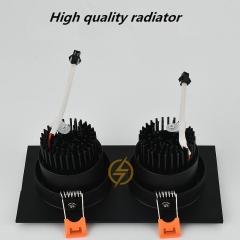 Đèn âm trần vuông đôi 2x7w downlight Led COB viền đen vỏ đen D90 TLV-ACOB-14W02