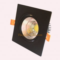 Đèn âm trần vuông đơn 12w chip Led COB (viền đen, vỏ đen) D90 TLV-ACOB-12W02