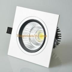 Đèn âm trần vuông đơn 12w chip Led COB viền đen, vỏ trắng D90 TLV-ACOB-12W02