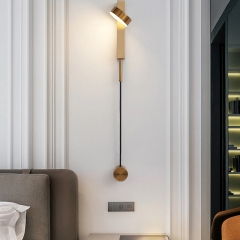Đèn đọc sách điều chỉnh sáng gắn đầu giường trang trí LED hiện đại 9w vỏ vàng đồng cao cấp TL-DSM01Y