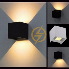 Đèn gắn tường Led vuông đen 2 đầu 12w IP65 DHT-01V-12W-B