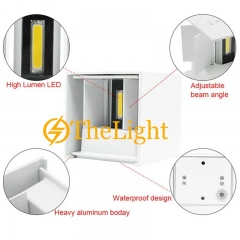 Đèn gắn tường Led vuông trắng 2 đầu 12w DHT-01V-12W-T