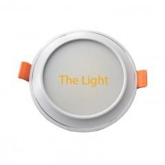 Đèn âm trần 7w downlight Led 3 màu D76 mặt lõm viền chỉ bạc TLD03-76