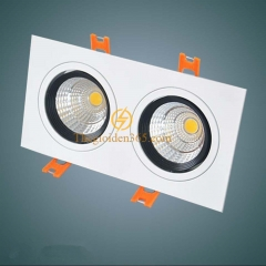 Đèn âm trần vuông đôi 2x7w downlight Led COB viền đen vỏ trắng D90 TLV-ACOB-14W02