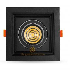 Đèn âm trần vuông đơn 7w downlight Led COB (viền đen lõm, vỏ đen) D120 TLV-ACOB-7W002