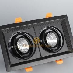 Đèn âm trần vuông đôi 2x7w downlight Led COB (viền đen lõm, vỏ đen) D120x235 TLV-ACOB-7W002