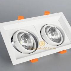 Đèn âm trần vuông đôi 2x7w downlight Led COB (viền trắng lõm, vỏ trắng) D120 TLV-ACOB-7W002