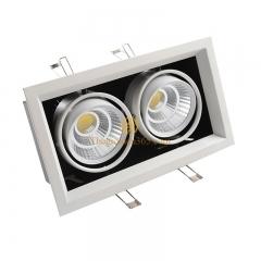 Đèn âm trần hộp vuông đôi 2x12w downlight Led COB (viền trắng lõm, vỏ hộp đen) D120x250 TLV-ACOB-12W003