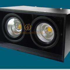 Đèn gắn trần hộp vuông đôi 2x7w chip Led COB (viền đen, vỏ đen) D200x100 HN-01V-2x7W