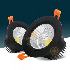 Đèn âm trần 7w downlight Led COB viền đen vỏ đen D76 TL-ACOB-7W01