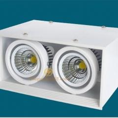 Đèn Led ốp trần hộp vuông đôi 2x10w chip COB viền trắng, vỏ trắng D200x100 HN-01VT-2x10W