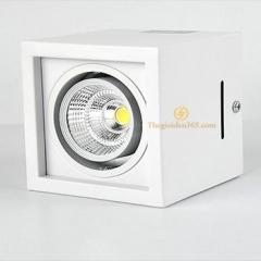 Đèn led ốp trần hộp vuông đơn 12w chip COB viền trắng, vỏ trắng D100 HN-01VT-12W