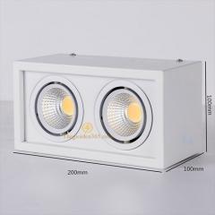 Đèn led ốp trần hộp vuông đôi 2x7w chip COB viền trắng, vỏ trắng D200x100 HN-01VT-2x7W