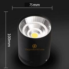 Đèn gắn trần hộp tròn đơn 7w chip Led COB vỏ đen D75 HN-01TR-7W