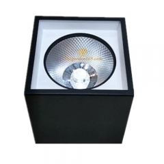 Đèn ốp trần Led hộp vuông đơn 7w chip COB viền trắng, vỏ đen H122 HN-02V-7W