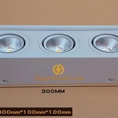 Đèn ốp trần Led hộp vuông ba 3x7w chip COB viền trắng, vỏ trắng D300x100x100 HN-01VT-3x7W