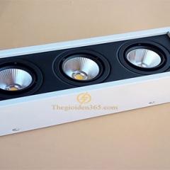 Đèn gắn trần led hộp vuông ba 3x7w chip COB viền đen, vỏ trắng D300x100x100 HN-01VT-3x7W